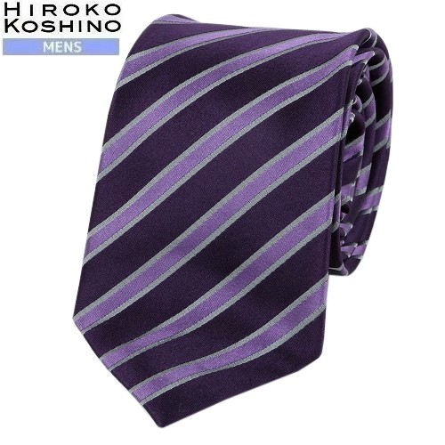 ネコポスでの配送の場合は全国送料無料 ギフト SALE44%OFF HIROKO KOSHINO HOMME ヒロココシノオム シックシンストライプ 迅速な対応で商品をお届け致します 9 紫 1609205 ネコポスで送料無料 シルクネクタイ 20 3