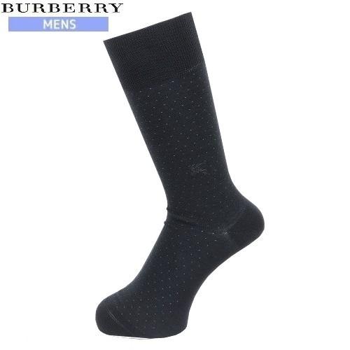 ネコポスでの配送の場合は全国送料無料 好評 希少品 BURBERRY バーバリー 流行のアイテム 日本製 ホースマーク刺繍 ドット柄コットンウールビジネスソックス 黒 ネコポスで送料無料 靴下 18 120318 3