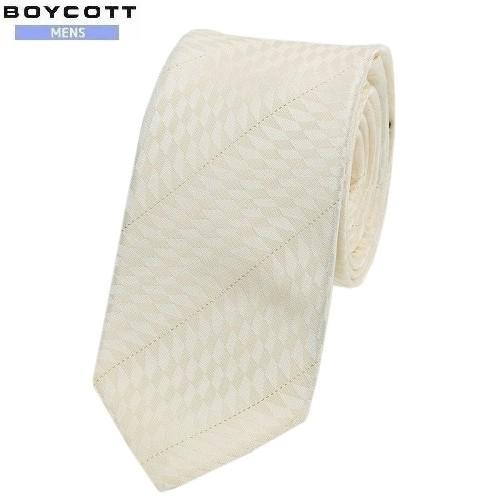 ネコポスでの配送の場合は全国送料無料 SALE大特価 BOYCOTT 舗 ボイコット 日本製 ラメ糸使い ストライプ シルクコットン 3 ネコポスで送料無料 19 180719 アイボリー 割引 ネクタイ 7