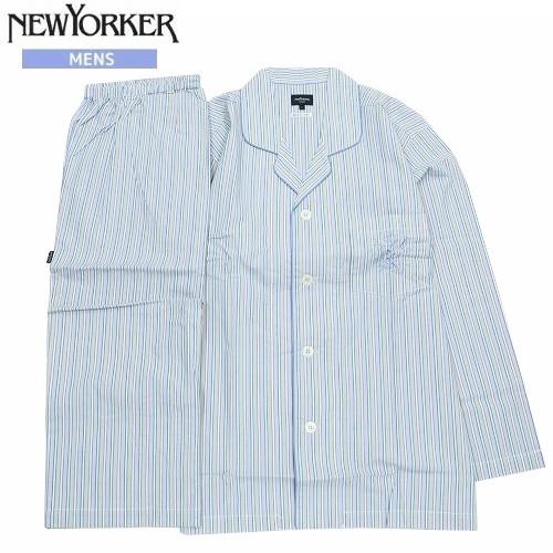ネコポスでの配送対象外商品 SALE30%OFF 1点限り NEWYORKER ニューヨーカー 数量限定 マルチストライプ 人気 おすすめ 前開き 紳士パジャマ 長ズボン 5 グレー 4 21 長袖 200521
