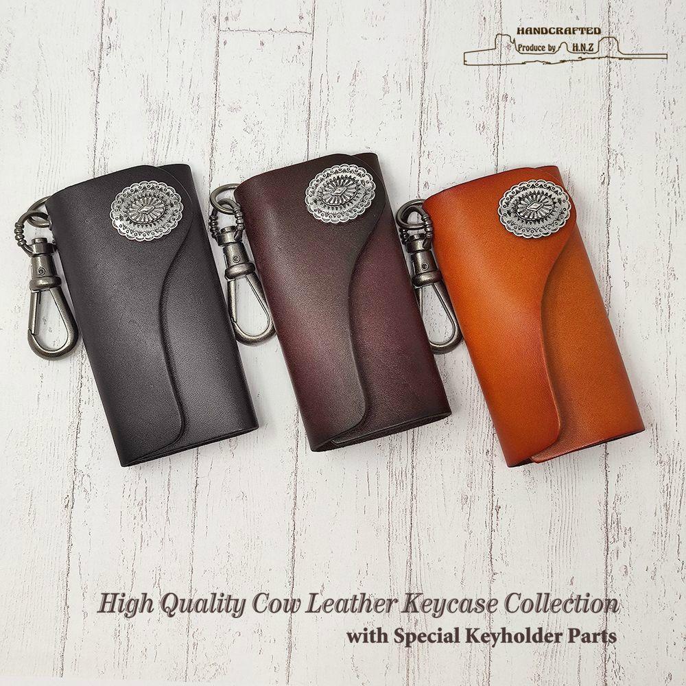 ネコポス便送料無料 チープ H.N.Z 売れ筋 コンチョ レザー ネイティブ メンズ 本革 キーケース