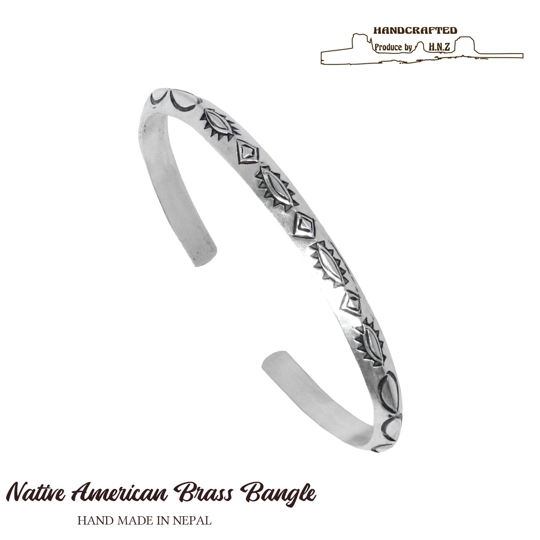 ネコポス便送料無料 バングル メンズ ネイティブアメリカン ナバホ 真鍮 ブレスレット 高品質 アクセサリー vbl-002 ブラス 開店祝い シルバー