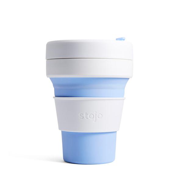 NY発 物品 折りたためるマイカップ stojo ストージョ POCKET CUP SKY 折り畳みマイカップ 355ml マイタンブラー シリコンカップ 100%品質保証! 12oz