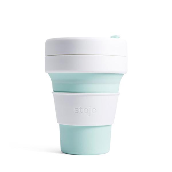NY発 折りたためるマイカップ stojo お見舞い ストージョ POCKET CUP マイタンブラー 折り畳みマイカップ MINT ふるさと割 355ml 12oz シリコンカップ