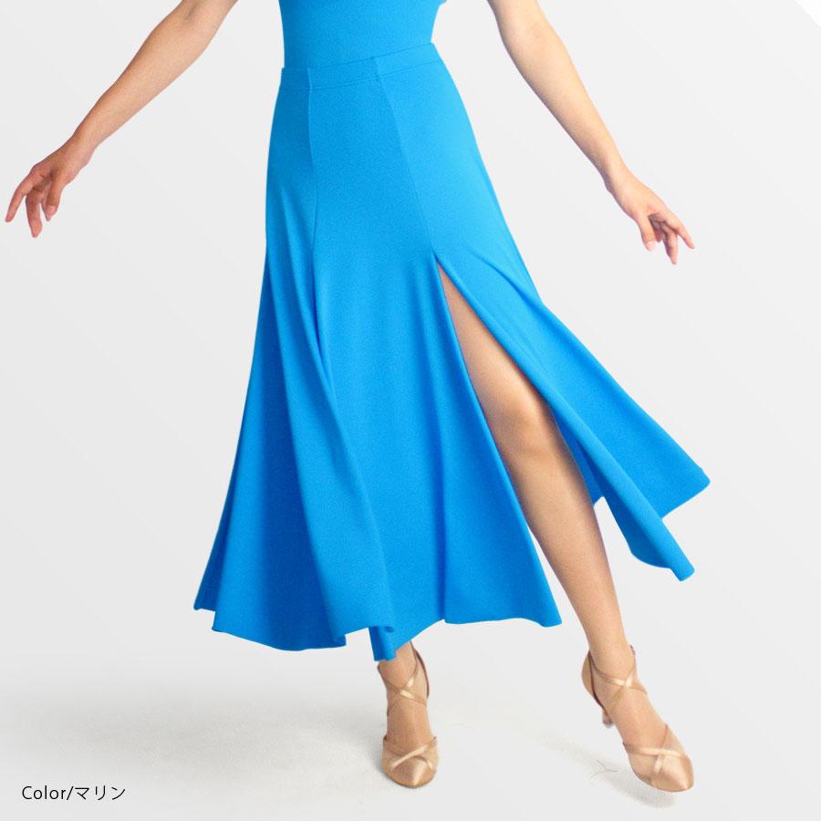 ダンススカート N13 (ウエスト44~58cm/丈45cm)【社交ダンス スカート かっこいい 可愛い スリット 動きやすい シンプル 白 黒 ホワイト ブラック 練習着 レッスンウエア 日本製 初心者】
