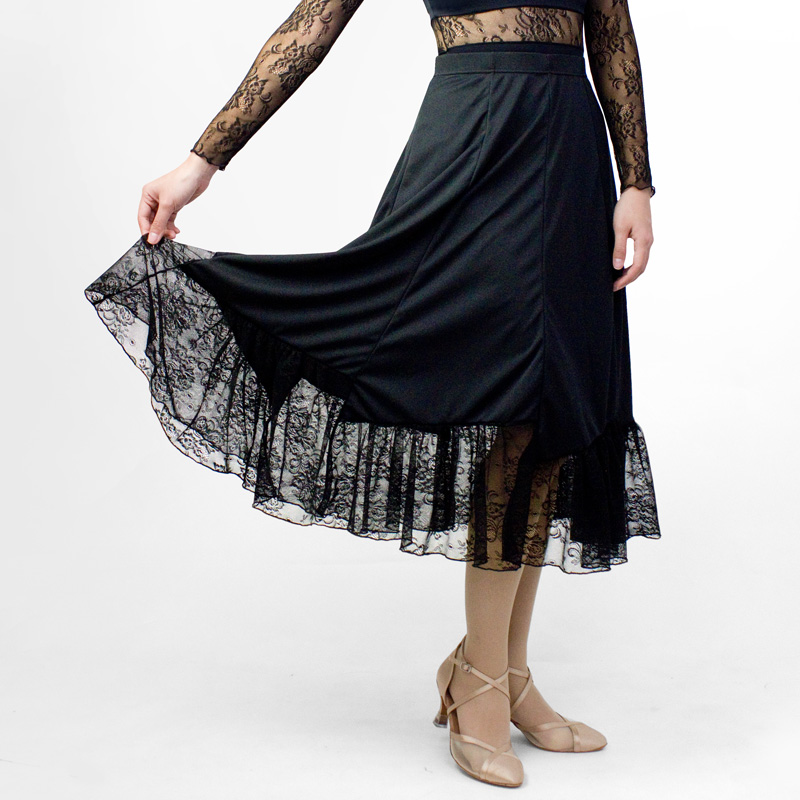 ダンススカート16 (ウエスト44~58cm/丈45cm)【社交ダンス スカート かっこいい 可愛い 動きやすい 白 黒 ホワイト ブラック 練習着 レッスンウエア 日本製 初心者】