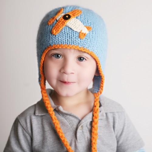 男の子が大好きな飛行機柄のニット帽です AW13 Huggalugs 飛行機柄 スーパーセール期間限定 ポンポンニット帽 Sky 買物 ハガラグス Rider Beanie Hat 輸入インポート子供帽子