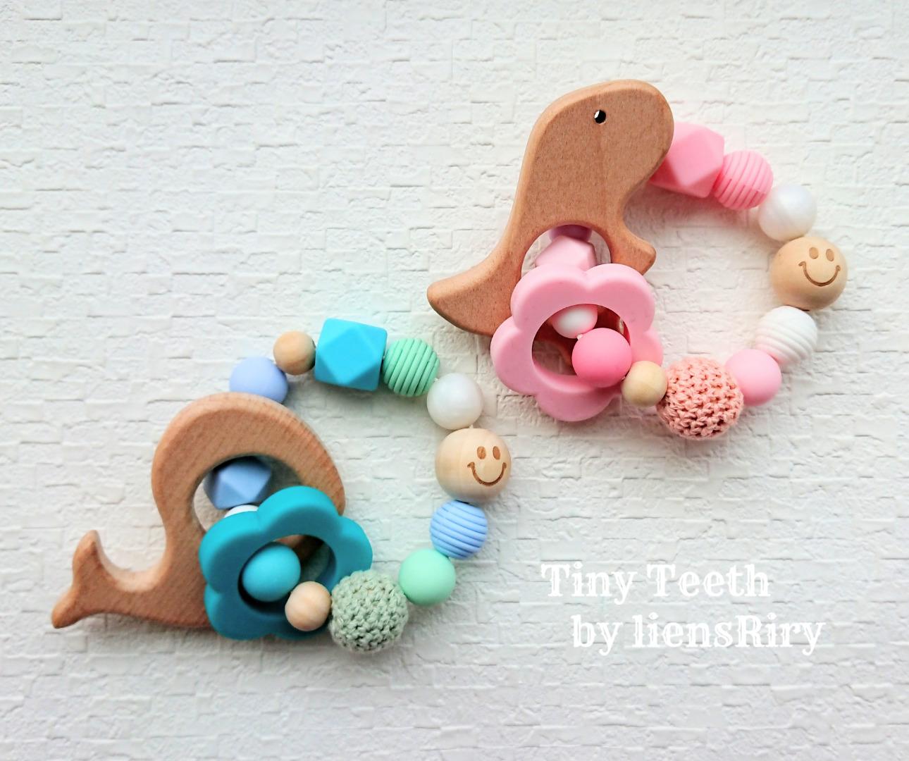 Tiny Teethオリジナルロゴ入りクリップ使用♪ Teeth™ (�� イエロー) 食�レベル�素�・シリコンビーズ・ウッドパーツ♪Tiny 歯固�ジュエリー™� �liensRiry】 シューズクリッパー