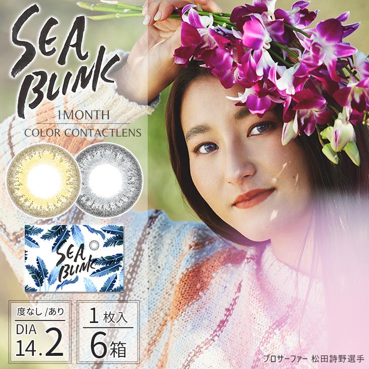 【あす楽対応】SEA BLINK-シーブリンク- (1枚入) 度あり・度なし 1枚入6箱  山中美智子 カラコン 1ヶ月 カラコン 一ヶ月 カラコン マンスリー ALEXIA STAM(アリシアスタン)デザイナー テラスハウス ビーズアップ 美瞳 月抛 mounth