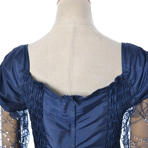 スパンコール刺繍 ロングスリーブ Aラインロングドレス L 4Lサイズ ネイビー ピンクc31TKlFJ
