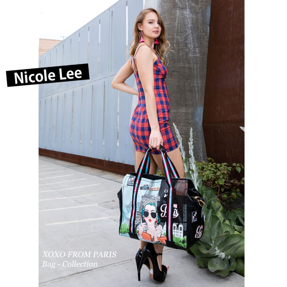 693440d3d06c NICOLE LEE Nicole Lee (two two CF3608 CATEMETALLICGARDENOVERNIGHT BOSTONBAG  Nicole Lee floral metallic Boston bag flower PVC trip nicole lee call Lee  ...