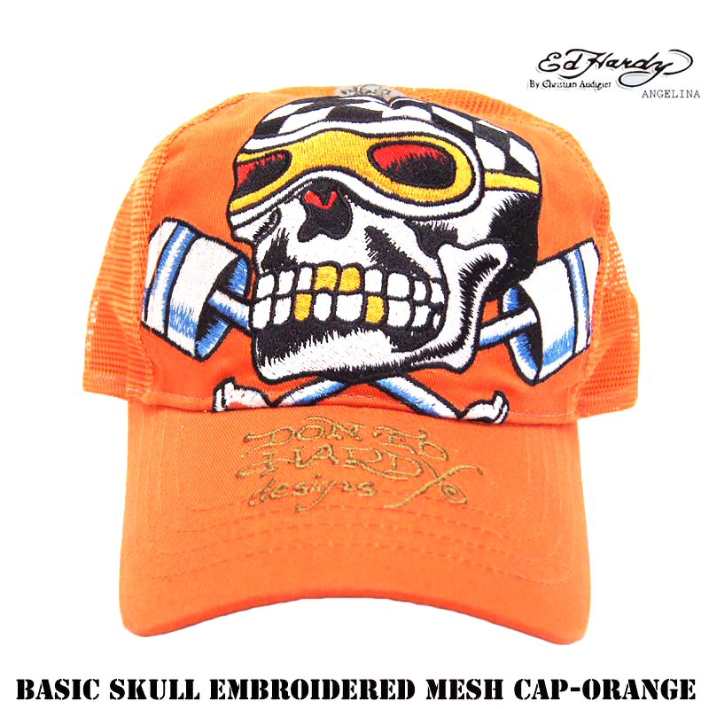 24a3aac3ded55 Ed Hardy Ed Hardy Basic Skull Embroidered Mesh Cap-Orange ( Ed Hardy Cap  Orange piston skull Ed Hardy basic one-size-fits-all limited discount Ed  Hardy ...