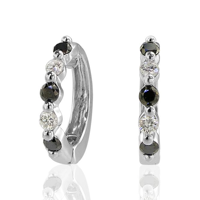 ピアスみたいなイヤリング K14WGダイヤモンド&ブラックダイヤモンドピアリング(0.34ct) 正規品