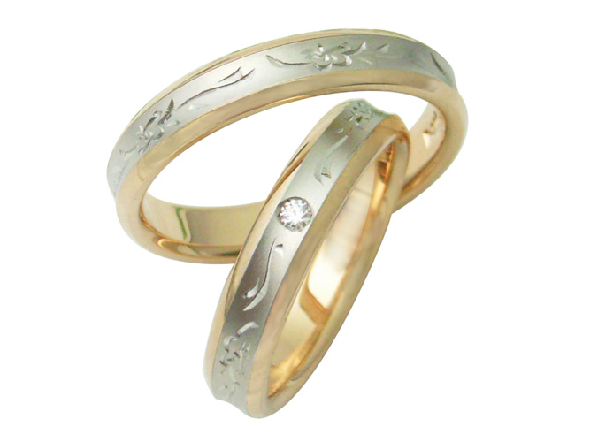 【卸屋さん割引あります!】Pt900/K18PGプア・アネラ結婚指輪(逆甲丸)PA35VP