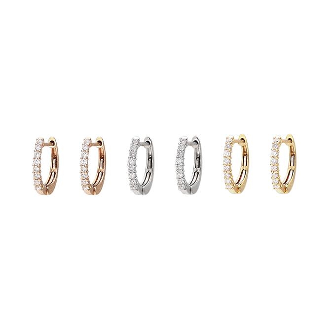 [K18WG] [K18] [K18PG]スリムminiダイヤモンドエタニティピアス(0.10ct) 1×10mm バネ入り 中折れ
