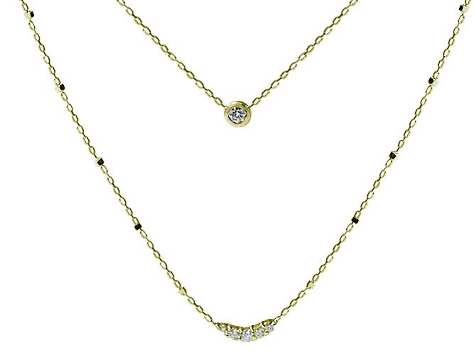 ダイヤモンドダブルチェーンネックレス(D 0.13ct)