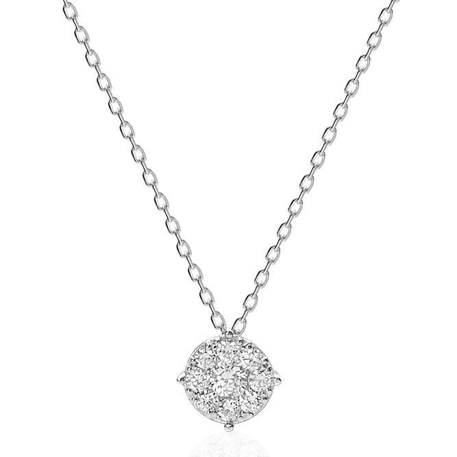 K18WGダイヤモンドネックレス(0.20ct)