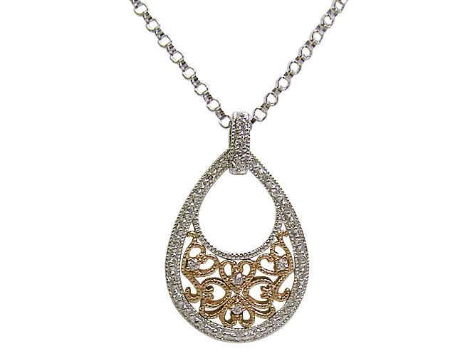 K18WG/K18(ピンクゴールド)ダイヤモンドペンダントネックレス(D 0.20ct)