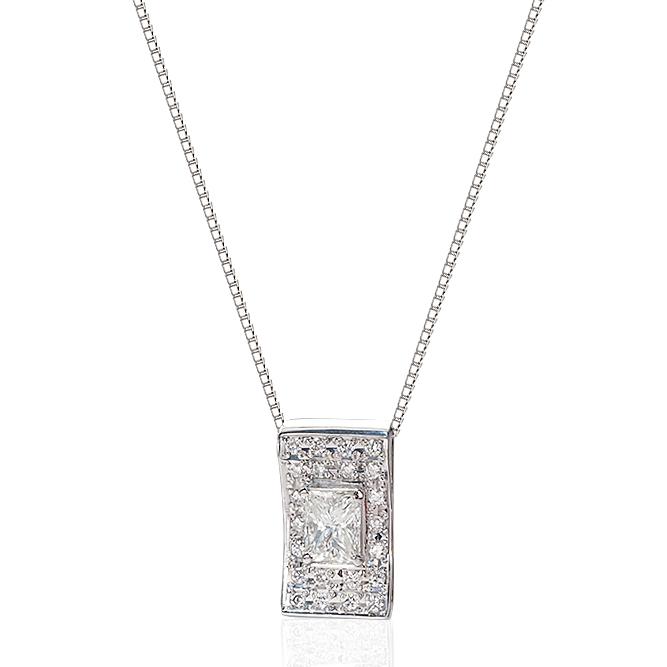 Pt900/Pt850プラチナ ダイヤモンドネックレス(1.033ct H-VS2/0.29ct)中央宝石研究所鑑定書付