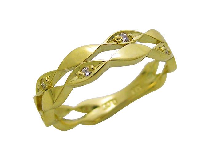 カラーゴールドセットアップデザインダイヤモンドリング(D 0.05ct)