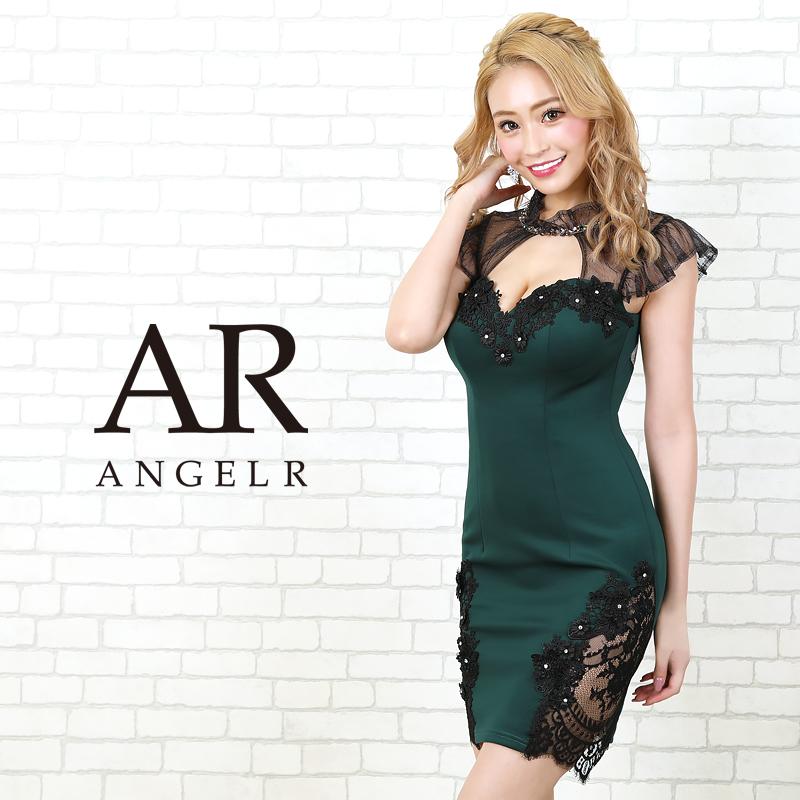 AngelR エンジェルアール[ブラックメッシュスリーブタイトミニドレス]ミニドレス タイト 半袖 袖あり レース 細い パーティー 女子会 結婚式 二次会 卒業式 入学式 AR20204
