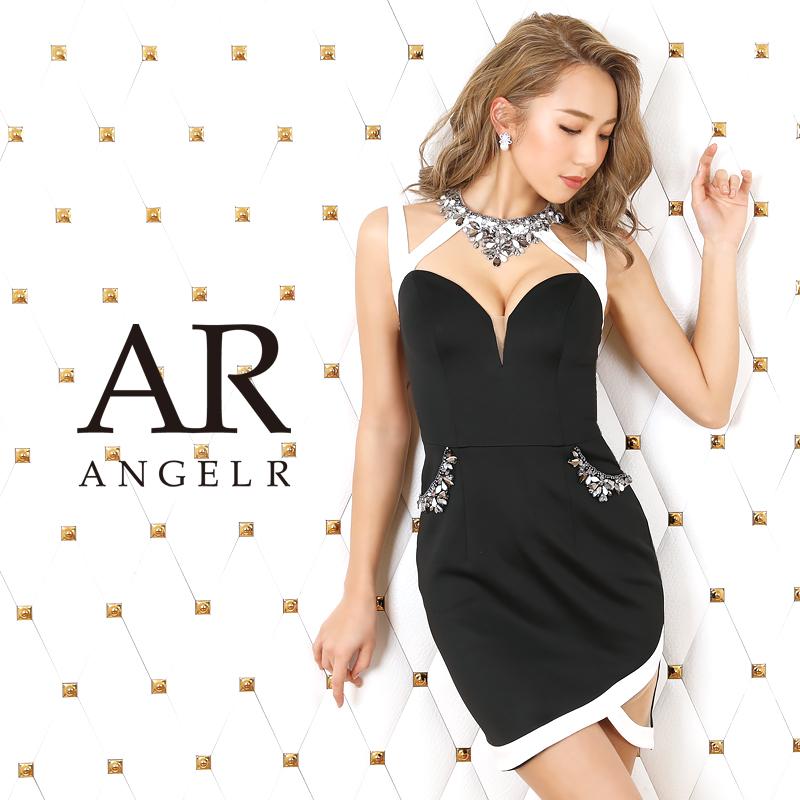 AngelR エンジェルアール[デコルテビジューバイカラータイトミニドレス]ミニドレス タイト ノースリーブ ポケット ビジュー 細い パーティー 女子会 結婚式 二次会 卒業式 入学式 AR20315