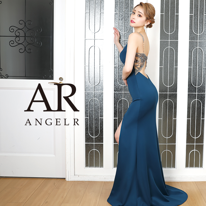 AngelR エンジェルアール[バックビジューデザインタイトロングドレス]ロングドレス タイト ノースリーブ ビジュー サイドスリット 細い パーティー 女子会 結婚式 二次会 卒業式 入学式 AR20321