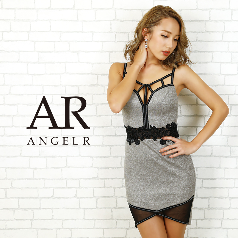 AngelR エンジェルアール[ウエストフラワーレースタイトミニドレス]ミニドレス タイト ノースリーブ フラワー刺繍 細い パーティー 女子会 結婚式 二次会 卒業式 入学式 AR20802