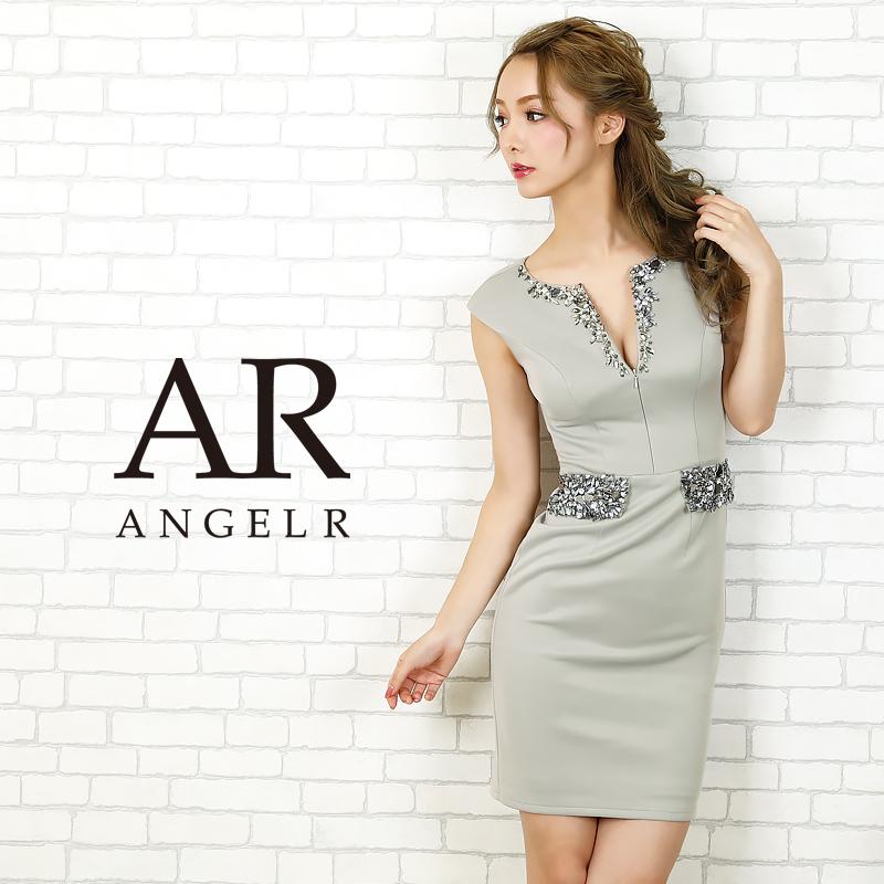 AngelR エンジェルアール[ウエスト&デコルテビジュータイトミニドレス]ミニドレス タイト ノースリーブ ビジュー 細い パーティー 女子会 結婚式 二次会 卒業式 入学式 AR20804