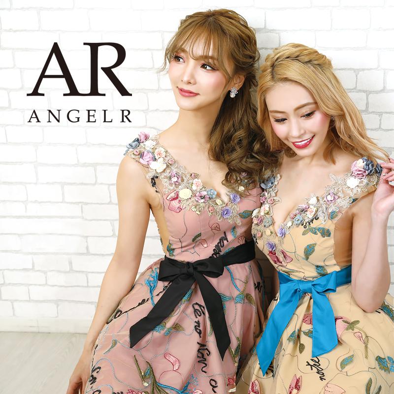 AngelR エンジェルアール[ウエストリボンフラワーフレアミニドレス]ミニドレス フレア 花柄 レース 細い パーティー 女子会 結婚式 二次会 卒業式 入学式 AR20808
