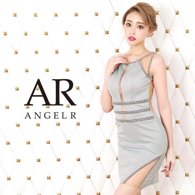 AngelR エンジェルアール[フロントラインビジューカッティングメッシュタイトミニドレス]ミニドレス タイト ノースリーブ ビジュー 細い パーティー 女子会 結婚式 二次会 卒業式 入学式 AR20814