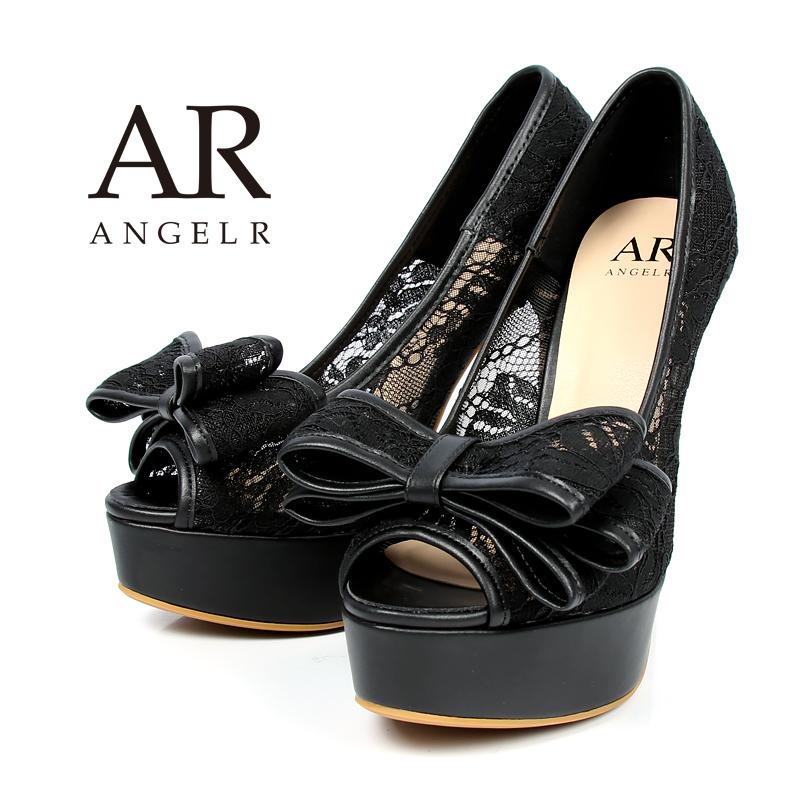 【予約】AngelR エンジェルアール[リボン付きフラワーレースハイヒール]ハイヒール パンプス オープントゥ レース リボン 厚底 ドレス キャバ シューズ ドレス フォーマル パーティー 女子会 SH024LI