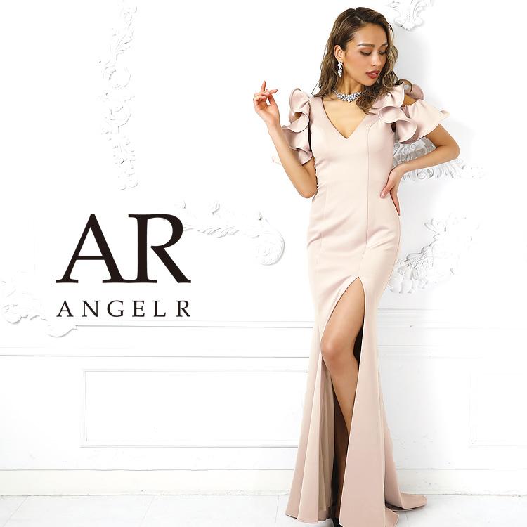 AngelR エンジェルアール [Vカットフレアスリーブタイトロングドレス]ロングドレス タイト 袖あり 無地 スリット メッシュ 細い パーティー 女子会 結婚式 二次会 卒業式 入学式 AR9214