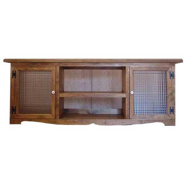 テレビ台 チェッカーガラス扉 w140d38h52cm アンティークブラウン 木製 ひのき オーダーメイド