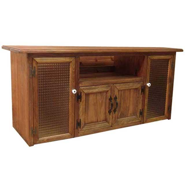 テレビ台 50型 チェッカーガラス扉 アンティークブラウン w120d38h48cm 下段木製扉 木製 ひのき オーダーメイド
