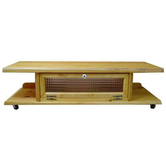 テレビ台 50型 キャスターつき ナチュラル w120d36h26cm 自然木天板 チェッカーガラス扉 木製 ひのき オーダーメイド