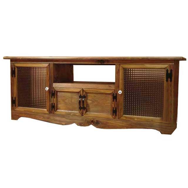 テレビ台 60型 チェッカーガラス扉 アンティークブラウン w140d38h52cm 下段木製扉 木製 ひのき オーダーメイド