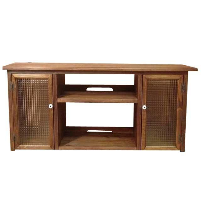 テレビ台 50型 アンティークブラウン w120d38h48cm チェッカーガラス扉 木製 ひのき オーダーメイド