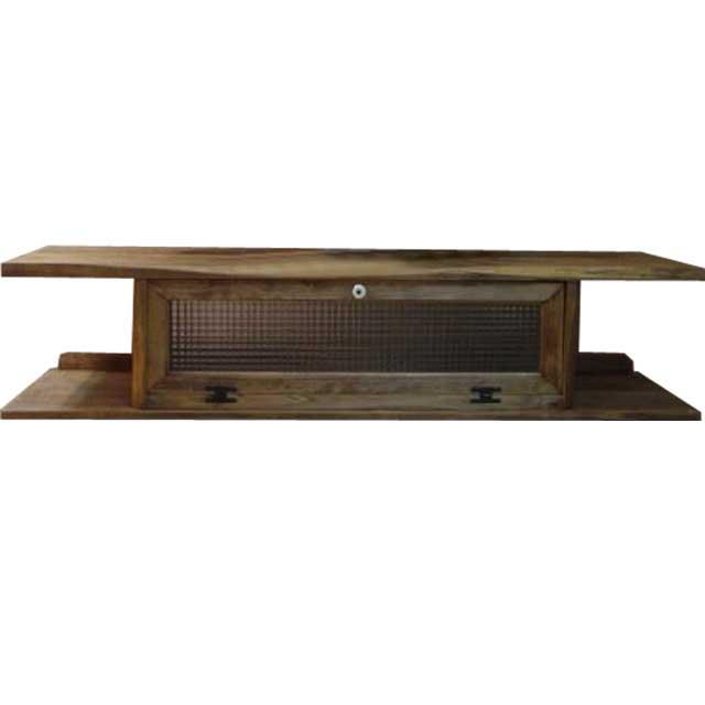 テレビ台 60型 アンティークブラウン w137d40h31.5cm チェッカーガラス 木製 ひのき オーダーメイド