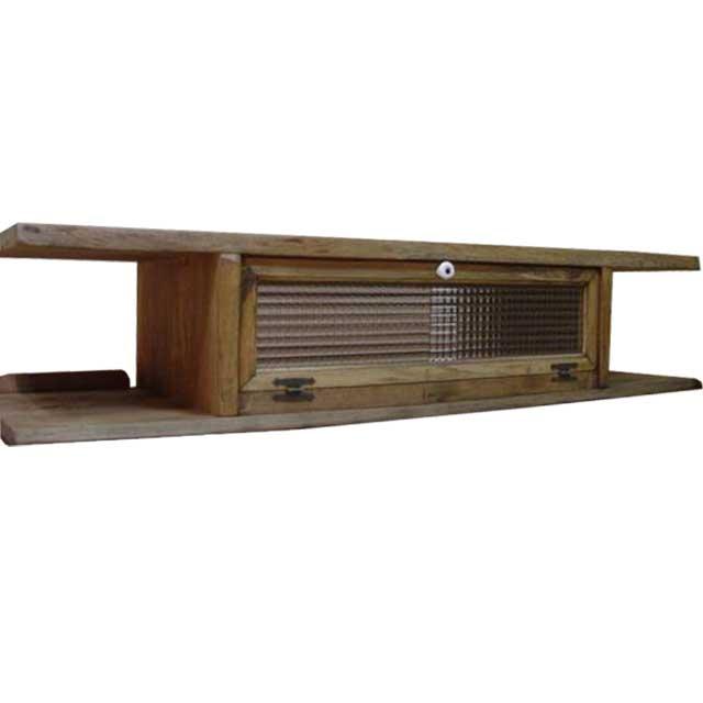 テレビ台 50型 アンティークブラウン w120d36h26cmチェッカーガラス扉 木製 ひのき オーダーメイド