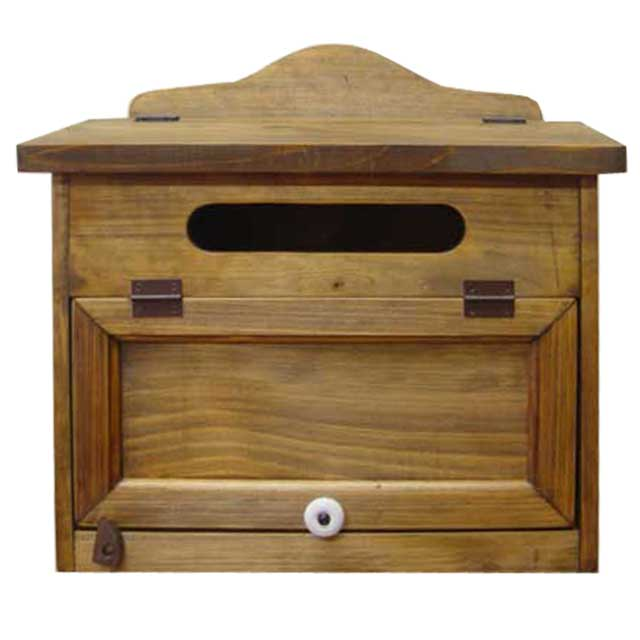 ポスト 横型 アンティークブラウン w37d20h36cm 奥行広め 木製 ひのき オーダーメイド