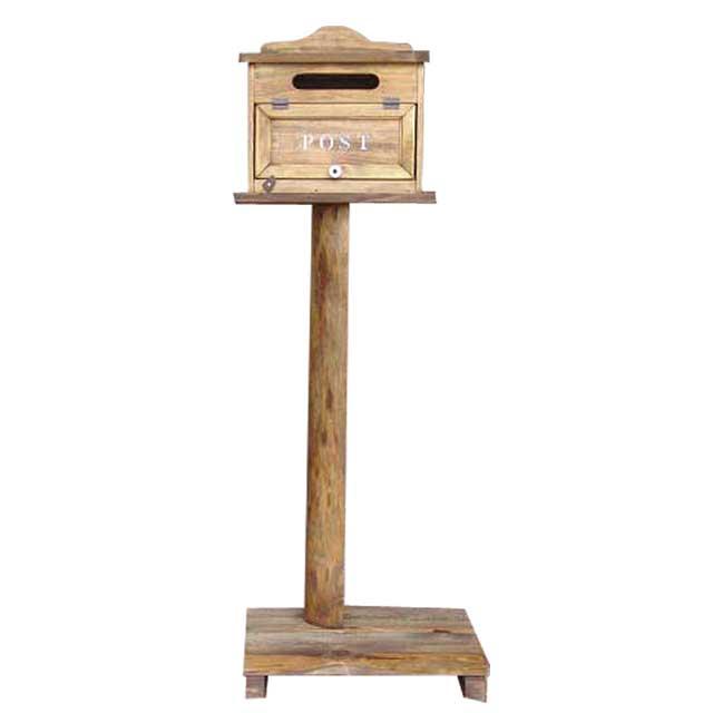 ポスト 横型 木製 ひのき アンティークブラウン 奥行き17cm ステンシルロゴ入り 自立スタンド 自然木台付き 郵便受け オーダーメイド 1327933