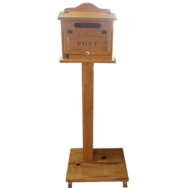 ポスト 横型 自立スタンド ナチュラル w50d45h142cm ステンシルロゴ 木製 ひのき オーダーメイド 1327933
