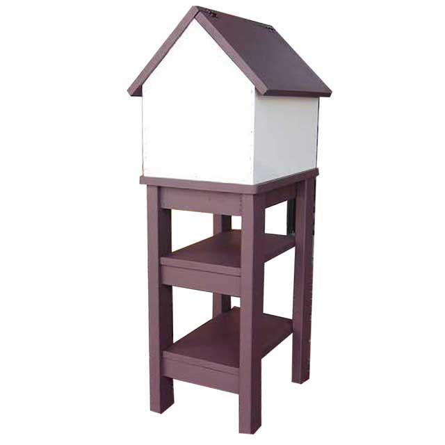 ポスト 家型 木製ひのき バードハウス風 郵便受け 棚付き 自立スタンド メールボックス コーヒーブラウン&アンティークホワイト オーダーメイド 1327933