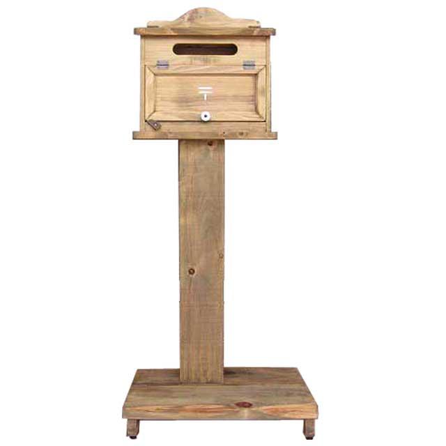 ポスト 横型 ステンシル郵便マーク入り 自立スタンド 木製ひのき 高さ110cm アンティークブラウン オーダーメイド 1327933