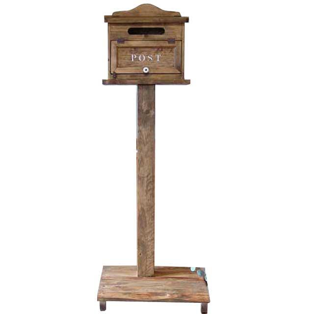 ポスト 横型 木製 ひのき アンティークブラウン POST ステンシルロゴ入り 自立スタンド 自然木台つき 郵便受け オーダーメイド 1327933