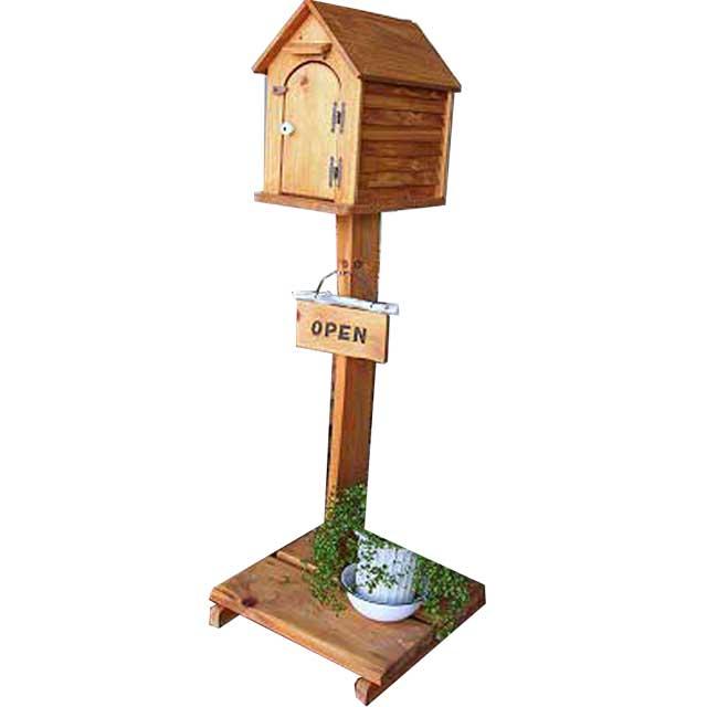 家型ポスト 木の扉 ナチュラル w50d45h140cm 自立スタンド 木製 ひのき オーダーメイド 1327933