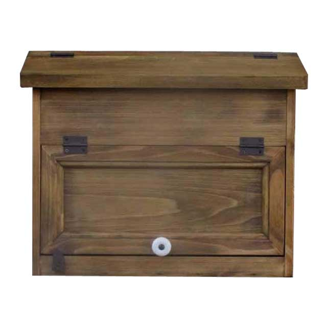 ポスト横型 木製 ひのき 郵便受け フラットタイプ 投函口なし アンティークブラウン オーダーメイド 1327933