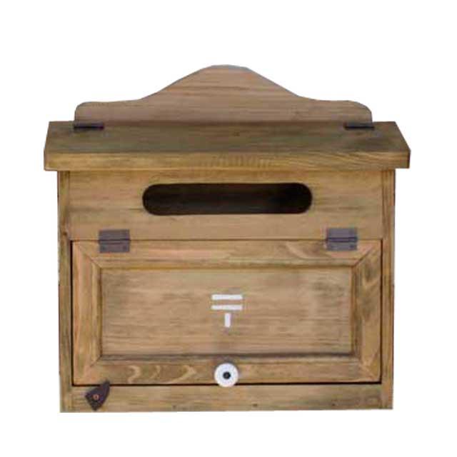 ポスト横型 木製 ひのき 郵便マークステンシル カントリーMAIL BOX 郵便受け アンティークブラウン オーダーメイド