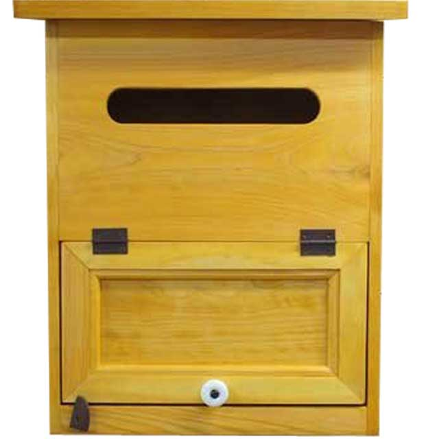 ポスト 縦型 木製 ひのき 木製扉 フラット開閉タイプ 34×19×43cm 郵便受け(ナチュラル) オーダーメイド